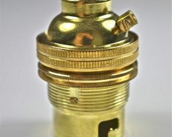 Brass bayonet fitting bulb holder earthed with shade ring 1/2 INCH L3