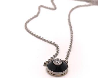 Vintage Diamond Necklace | Old European Cut | Black Onyx | Conversion Piece | Conversion Collection | Mother's Day | Graduation