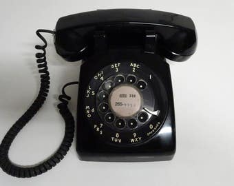 Vintage Bell System Black Rotary Dial Desk Top Telephone By Western Electric - FREE SHIPPING