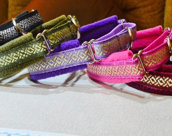 Fleece Lined Martingale Dog Collar - Celtic Knot - 35mm width
