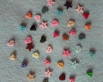 Tiny Stars, Hearts and Triangles Buttons set of 50