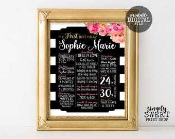Flower First Birthday Poster Milestone Board Baby Party Sign Floral Gold Pink Coral Peach Black White Stripe Fancy Popular Pretty One 1st