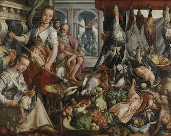 Joachim Bueckelaer: The Well-Stocked Kitchen. Fine Art Print/Poster. (004035)
