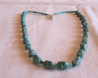 Turquoise Dog Bone Bead Necklace