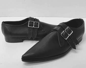 2 Strap Winklepicker Shoe in Black Leather