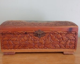 vintage cedar chest with mirrored lid and picture of village on the lid measures 10