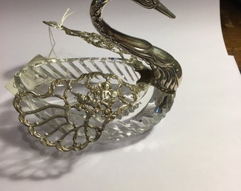 Stunning crystal and sterling silver swan