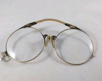 Vintage 1/10 12K Gold Filled Pince Nez Folding Glasses.  Antique  Pince Nez Eyeglasses Collapsible Glasses, Ornate Design. Spring Bridge.