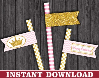 Princess Straw Flags - Princess Thank You Party Straw Drink Tags - Printable Digital File - INSTANT DOWNLOAD