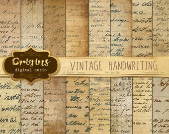 Vintage Handwriting Digital Paper, Old Letters, Old Handwriting, Antique Script Paper Ephemera, Correspondence, Handwritten Instant Download
