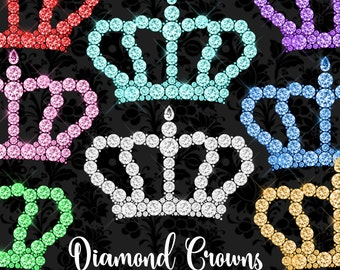 Diamond Crowns Clipart, diamond crown clip art, diamond glam rhinestone png royal graphics, masquerade download
