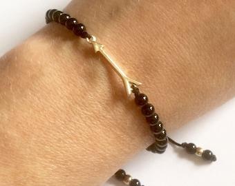 Karma Gems Black Onyx Gold Arrow Balance Reki Bracelet Friendship - Adjustable