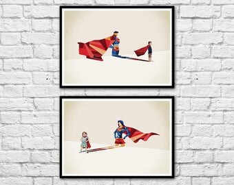 2 Art-Posters 30 x 40 cm - kids being super-heroes