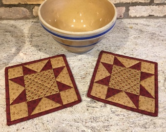 Kitchen Pot Holders / Quilted Potholders / Country Decor / Handmade /Primitive Decor /  Item #1882