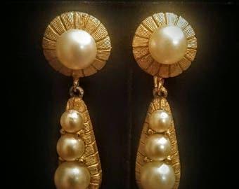 Vintage Kramer Faux  Pearl in Gold Tone Dangle Clip on Earrings