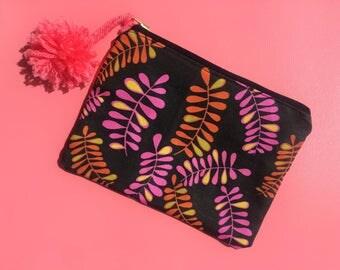 Bohemian zipper pouch | Tropical  zipper pouch | Hippie pouch | Boho Summer clutch | Makeup bag | Gift for Teen Girl | Cosmetic bag | Boho