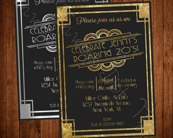 Roaring 20's Inspired Printable Birthday Invitation (Available in Silver or Gold!)