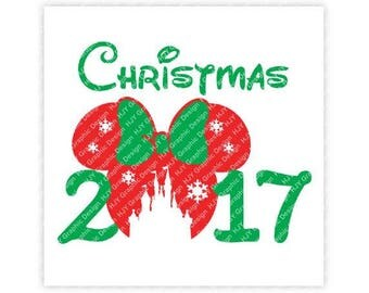 Disney, Christmas, 2017, Mickey, Minnie, Mouse, Ears, Castle, Snowflakes, Digital, Download, TShirt, Cut File, SVG, Iron on, Transfer