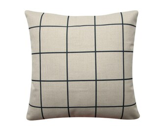 """Charcoal Pillow Cover, 18""""x 18"""" Decorative Pillow Cover, Scandinavian Grid Minimalist Charcoal Cushion Cover 285"""