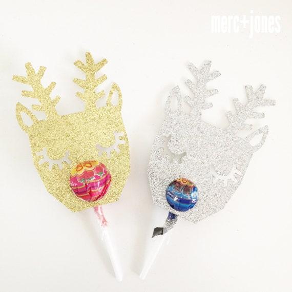 Glitter Reindeer Lollipop Chuppa Chup holders | Classroom Gifts | Set of 8 | Lollipop Tag | Lollipop Gift