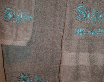 Sister Damask Personalized 3 piece Bath towel, hand towel & Washcloth Set