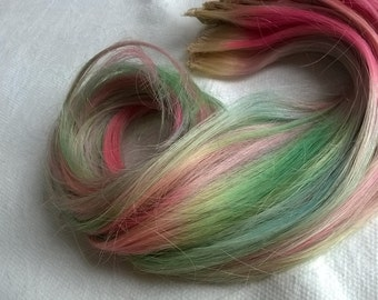Rainbow pastel unicorn mermaid clip in extensions, single pieces, human remy hair, 15 inches long