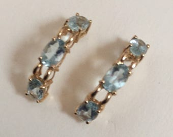 Lovely Aquamarine 14k gold Earrings