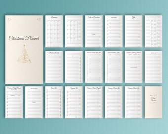 Christmas Planner Personal FIlofax Inserts Printable Inserts X-mas Cards Holiday Planner Gift Planner Christmas Party Instant Download