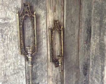 026 - Wall sconces - Vintage - Syroco - Ornate - Wall Decor - Gold - Black- Set of 2
