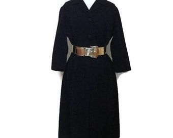 1960s Slim Black Wool Shirtwaist Dress M B40