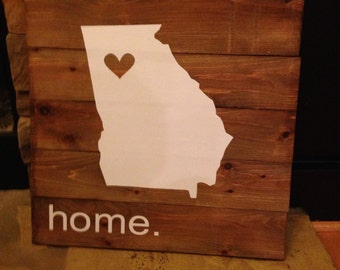 Wooden home sign, wooden state sign, wooden sign, state sign, home sign