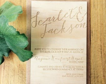Wood wedding invitation - Timber wedding invitation - Text design - Pack of 10