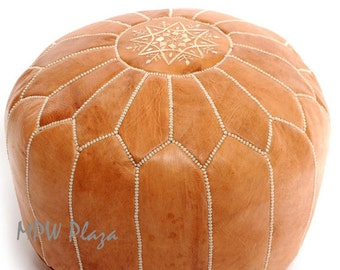 Sale- Light Tan Leather Moroccan Pouf / Ottoman