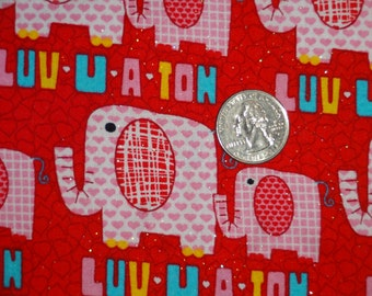 Luv U A Ton Valentines Day Elephant Glitter JoAnn Cotton Quilting Fabric BTY by the yard