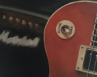 Guitar Painting Guitar Art Guitar PRINT Gibson Les Paul and Marshall Amp - Art Print  - from original painting by J Coates
