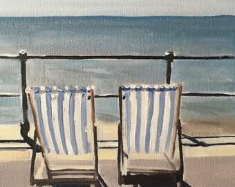 Beach Painting Beach Art PRINT Deck Chairs Art Print - from original painting by J Coates