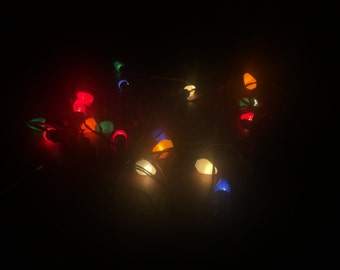 3 Sets Of Vintage NOMA Christmas Lights With Wooden Bead Branch Holders - 7 Light Strings