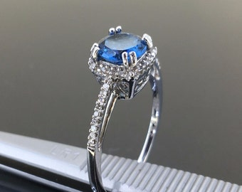 10k White gold Natural Swiss Blue Topaz & Diamond Cluster HAOLO engagement ring