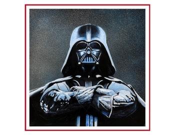 FREE SHIPPING, Darth Vader on canvas, star wars art, painting original, star wars painting, star wars on canvas, Darth Vader art