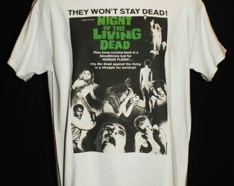 night of the living dead poster t-shirt 60s horror dawn zombie retro 70s