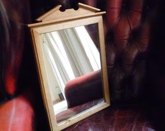 "Vintage Oak Pediment Top Mirror 17 3/4"" x 11 1/2"""