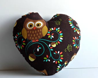 Heart shaped pillow with Owl print