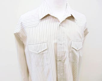 Vintage Western Shirt, Pearl Snap Pin Stripe Gold Collection, Made by Roper, Men's Size 2XL