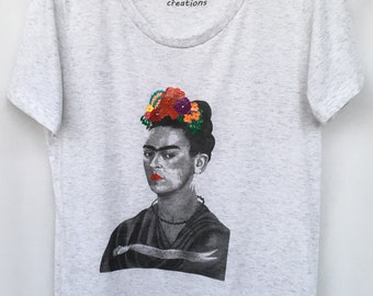 Frida Kahlo Hand Painted T-shirt. Frida Hand Painted Shirt. Frida White Tee, Top. Gift Friendly .