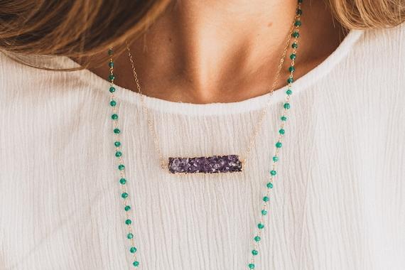 Purple Druzy Bar Necklace