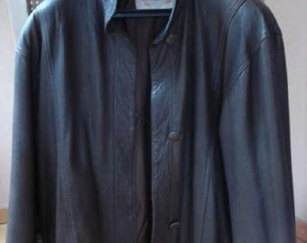 Beautiful vintage jacket / REVILLON / Brown textured leather.