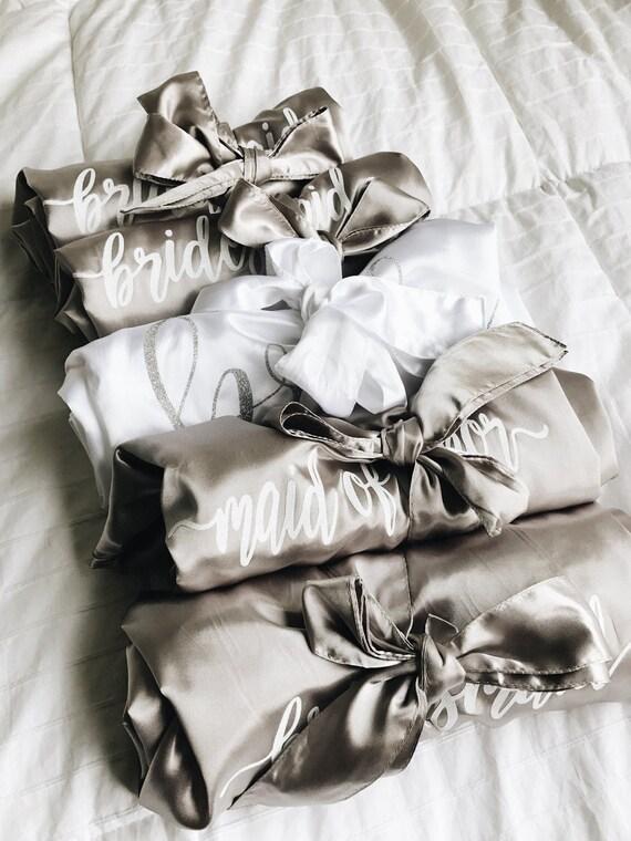 Bride Satin Robe | Bridesmaid Robes | Maid of Honor Robe | satin wedding robes