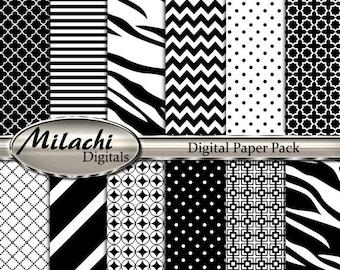 60% OFF SALE Zebra Print Digital Paper Pack - Commercial Use - Instant Download - M202