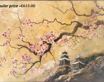 Large painting Original painting Oil   Landscape big painting Art Sakura Spring Japan Pagoda