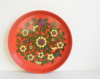 Retro Tin Serving Tray 1960s - 1970s Pat Albeck Red